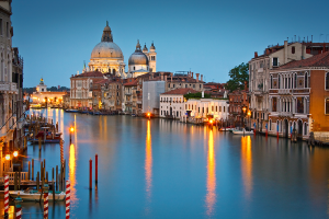 Grand Canal and Basilica at dusk